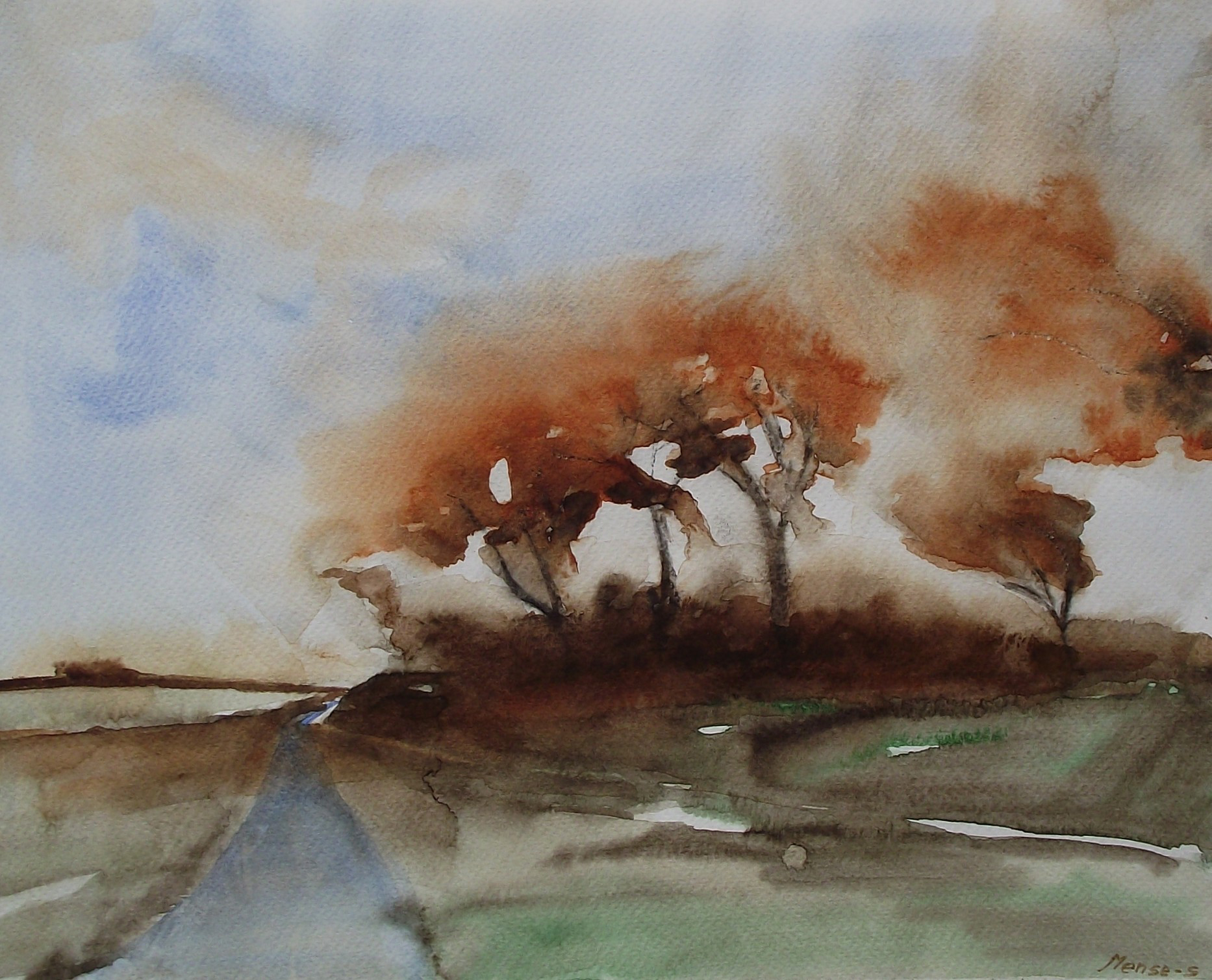 Mense Selles - Bomen op de dijk