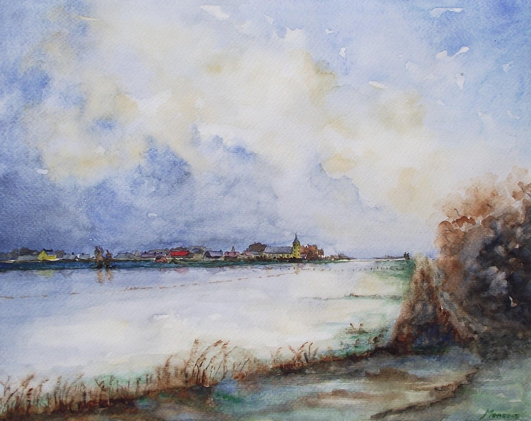 Mense Selles - Wilsum hoog water IJssel