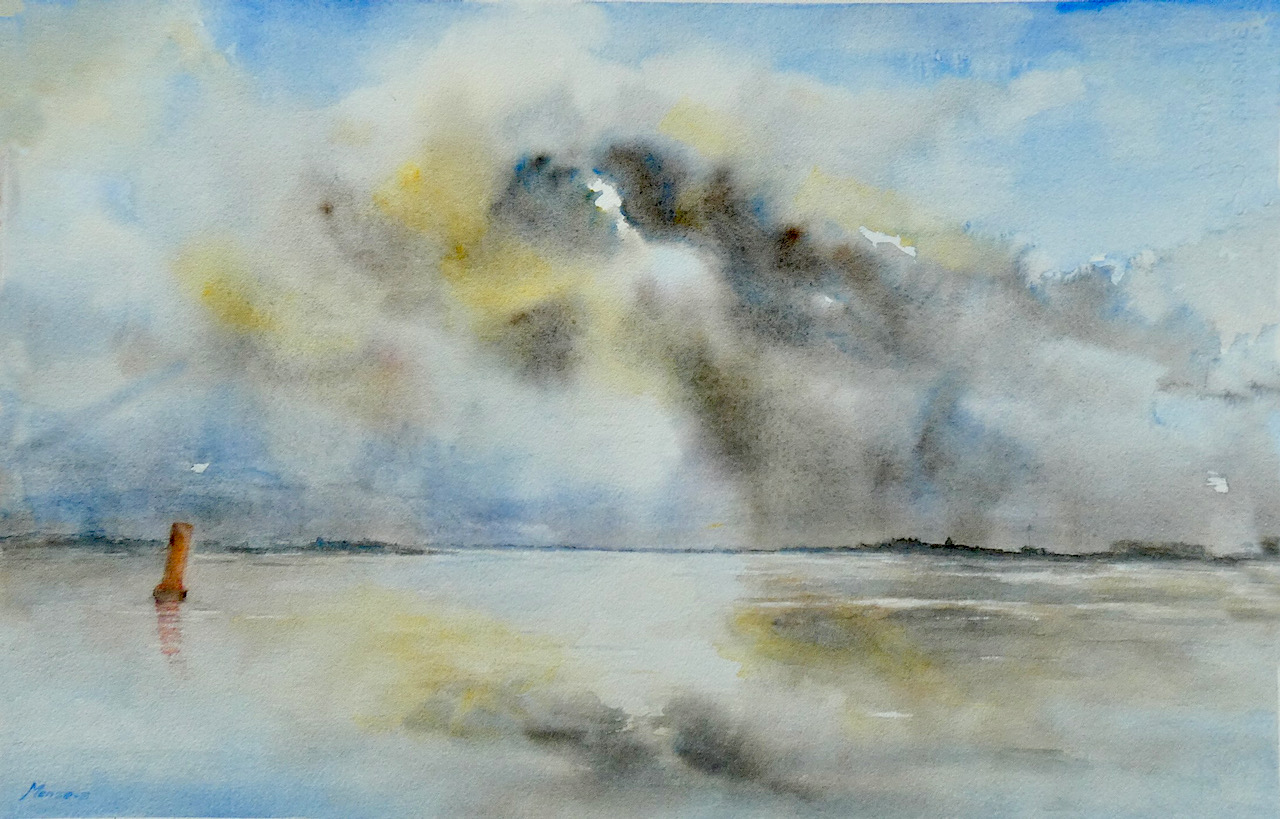 Mense Selles - Dampige wolken IJssel Zalk